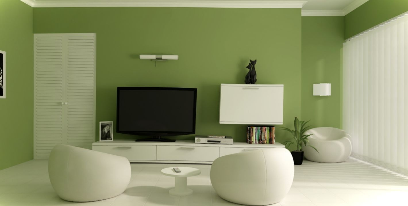 Awesome Green Living Room Interior Design With Flat TV LCD And White  Cabinet Also Three Unique White Chairs And White Curtain Decorated