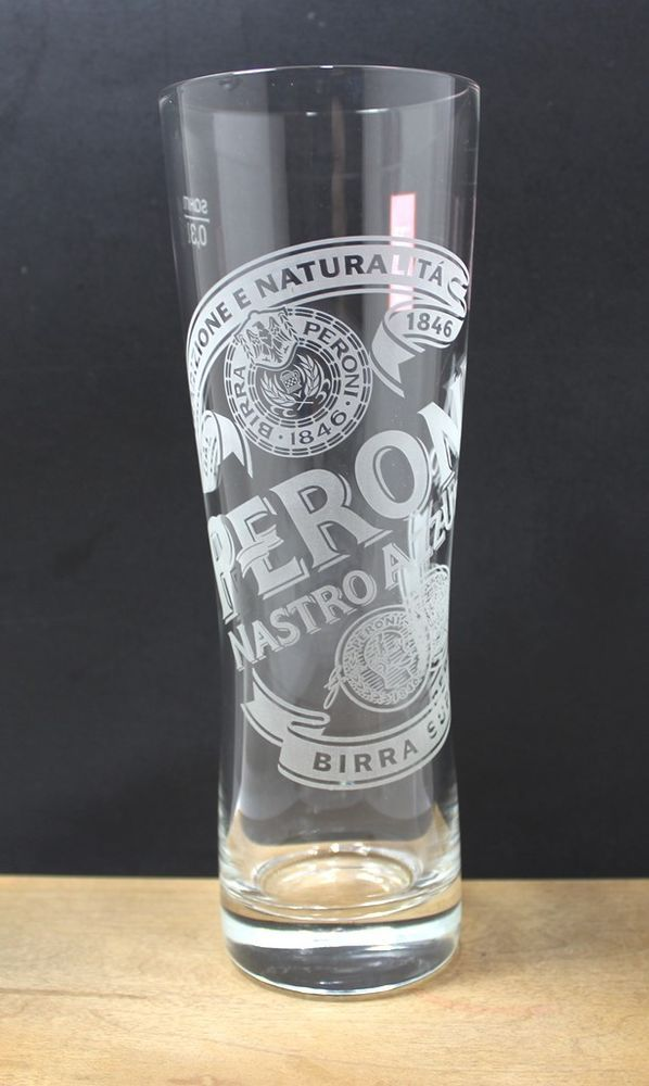9d0e3052241d Peroni Nastro Azzurro-Etched   Frosted 12 oz. Glass-Euro Lager Beer Glass-Italy