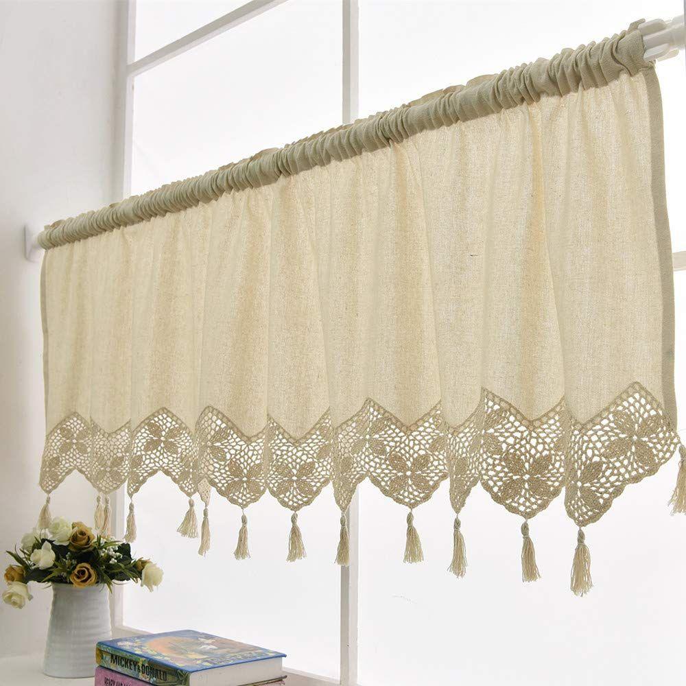Amazon Com Zhh Handmade Cotton Linen Kitchen Curtain Crochet Lace