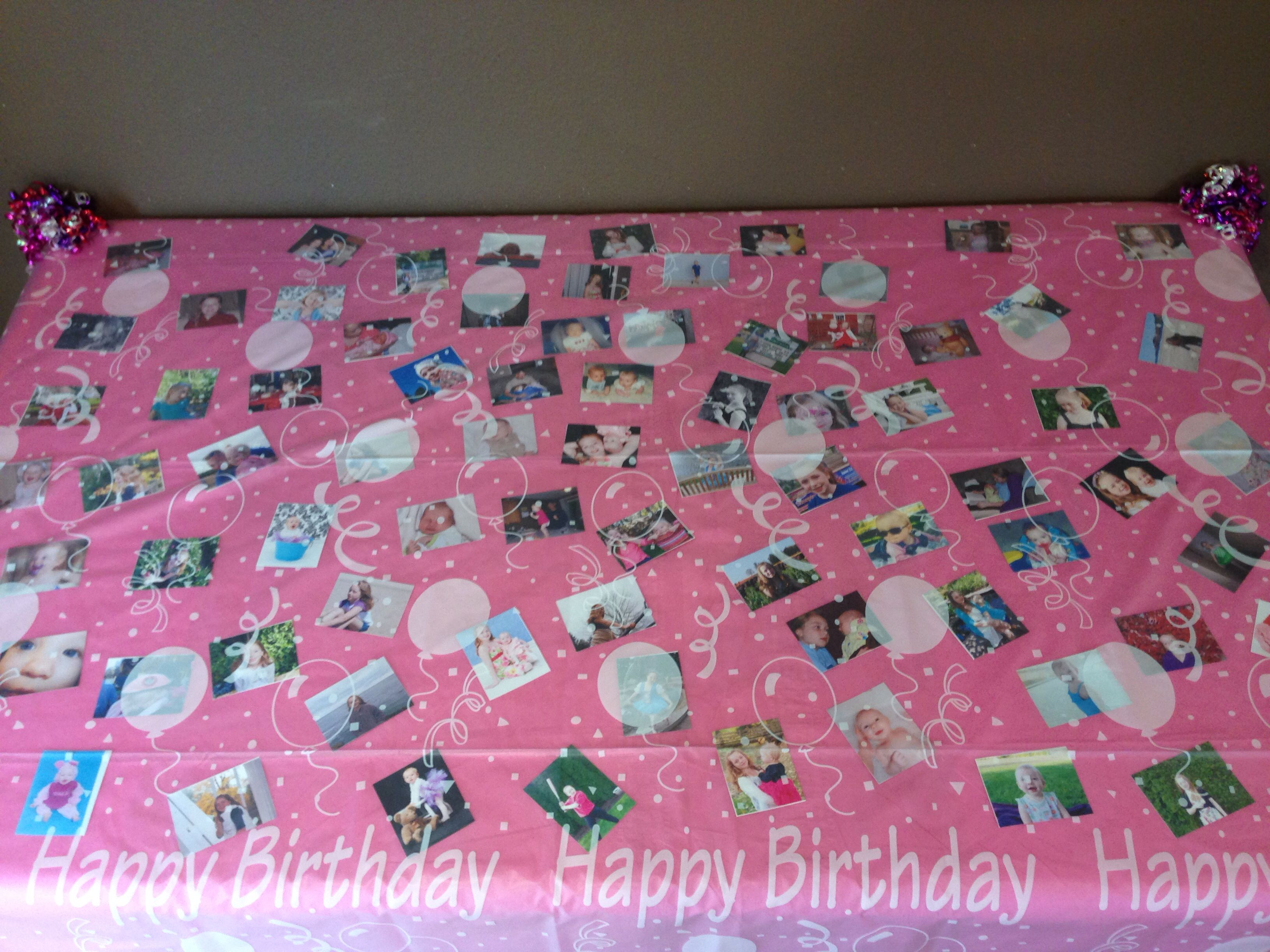 Solid Color Table Cloth With Tons Of Pictures, Then A Clear Plastic Table  Cloth On