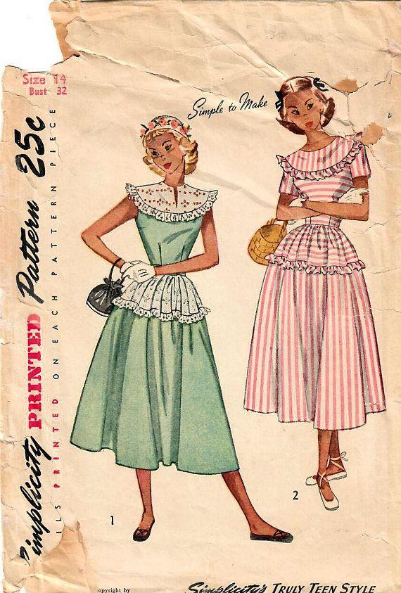 1940s Simplicity 2498 Vintage Sewing Pattern Teen Full Skirt ...