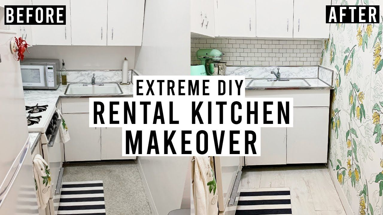 Extreme Diy Rental Kitchen Makeover Peel Stick Backsplash Removable Wallpaper Vinyl Floor Yout Rental Kitchen Makeover Rental Kitchen Kitchen Makeover