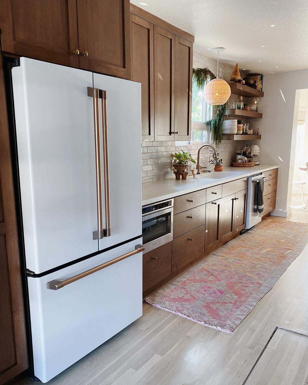 A S H L E Y P E T R O N E On Instagram Hooooome I Forgot To Clean A Bag Of Wil Dark Wood Kitchen Cabinets White Kitchen Appliances Clean Kitchen Cabinets