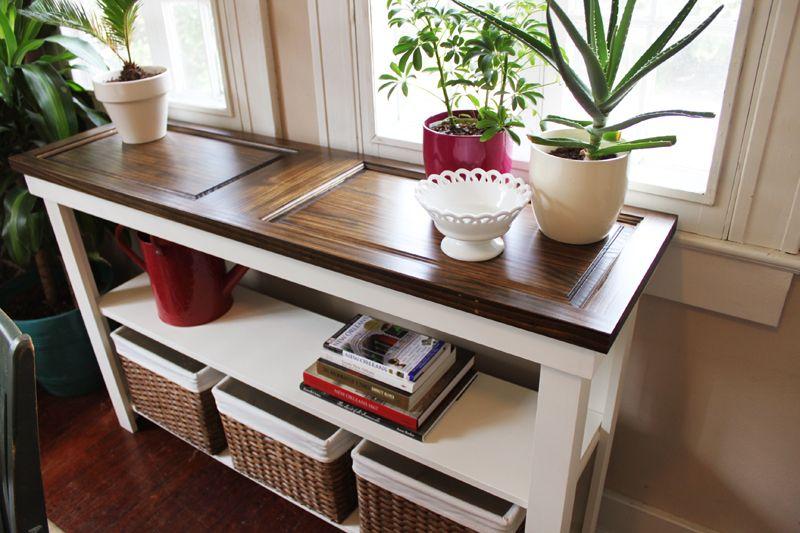 Repurposed Old Door Ideas Doors Repurposed Diy Console Table