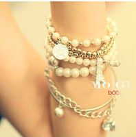 Fashion New Style Bohemian Bead Coins Eiffel Tower Pendant Multilayer Bracelet Charm Jewelry For Women Wholesale 2014 PD26