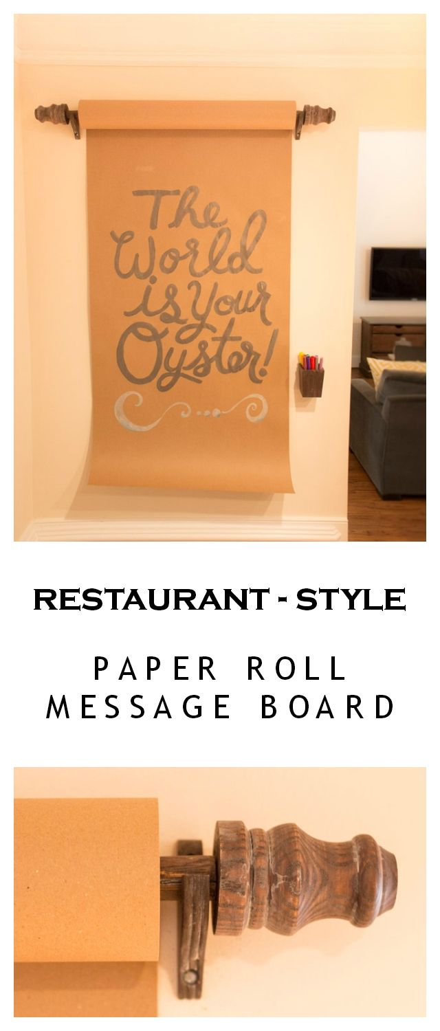 Paper Roll Message Board - Create your own restaurant-style message board with just a paper roll and curtain rod set