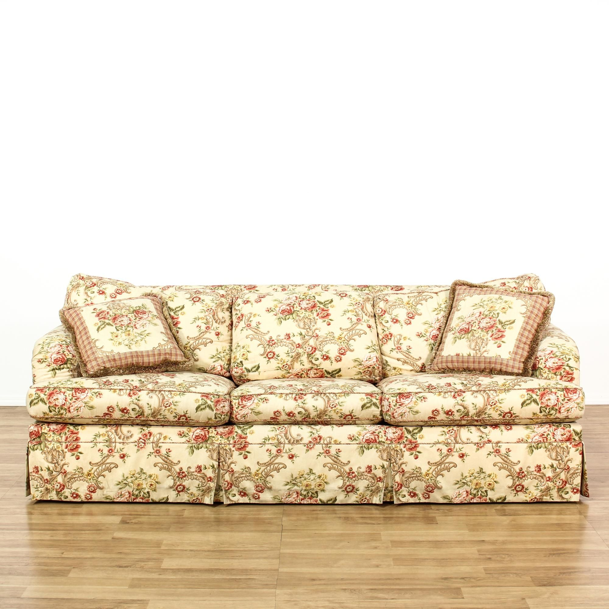 Stupendous This Sleeper Sofa Is Upholstered In A Rose And Cream Floral Dailytribune Chair Design For Home Dailytribuneorg