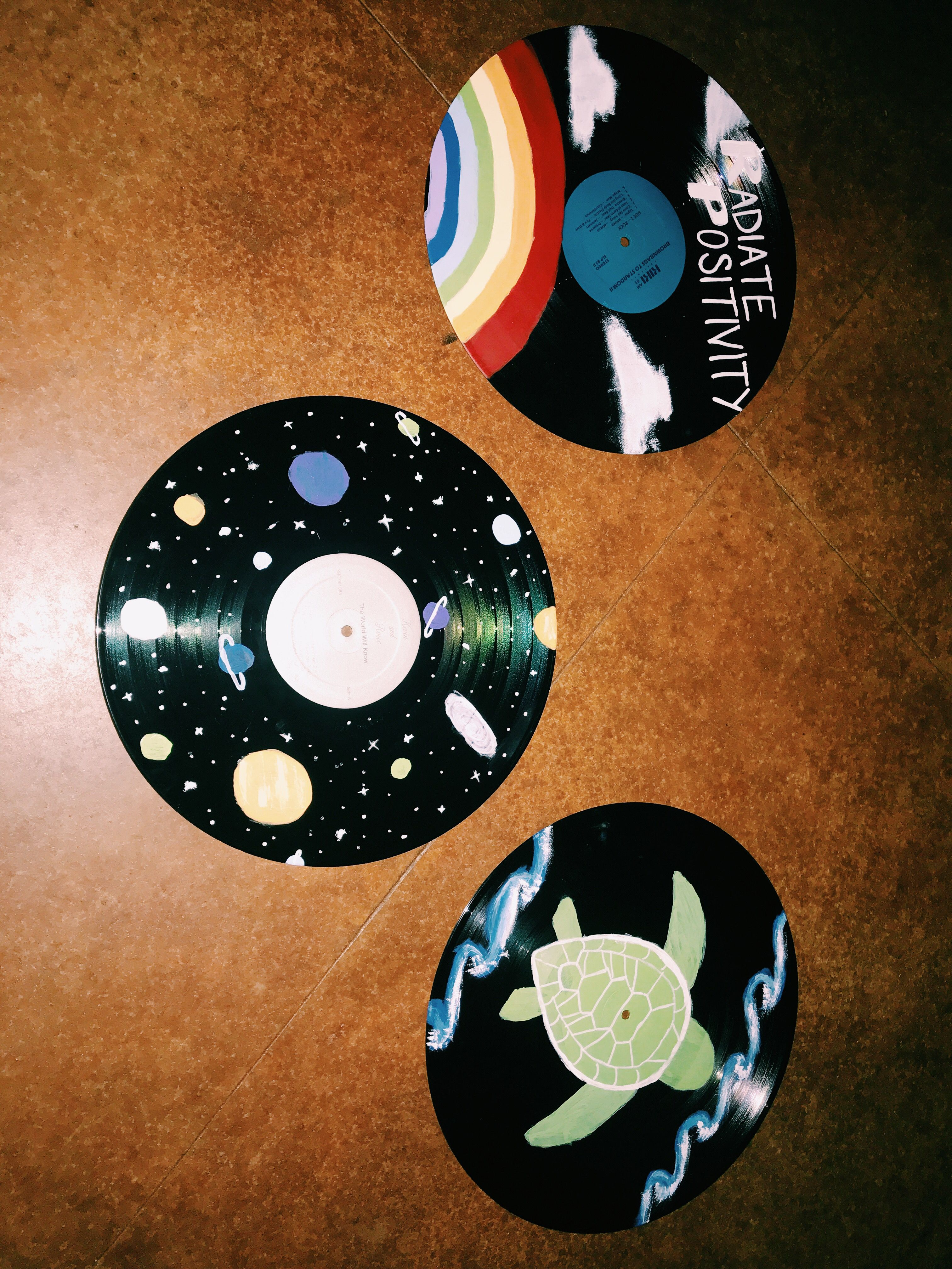 Painted Records In 2019 Vinyl Record Art Record Wall