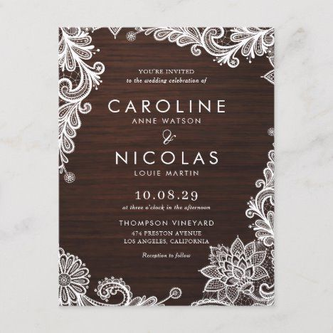Elegant Antique Lace Wood Country Wedding Invitation Postcard | Zazzle.com