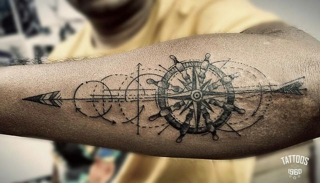Pin By Emily Kaufman On Tattoos Geometric Compass Tattoo Tattoo Arm Designs Compass Tattoos Arm