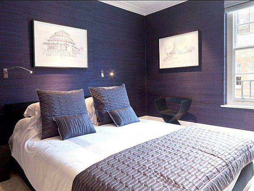 Bedroom Modern Midnight Blue Bedroom Texture Wall Pattern Picture Wall Frame Black Wood Armchair Wall Fioletovye Spalni Krasochnaya Spalnya Roskoshnye Spalni