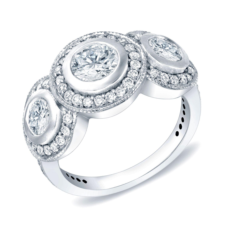 Auriya 14k White Gold 2 ct TDW Round Bezel Diamond Ring H I SI1