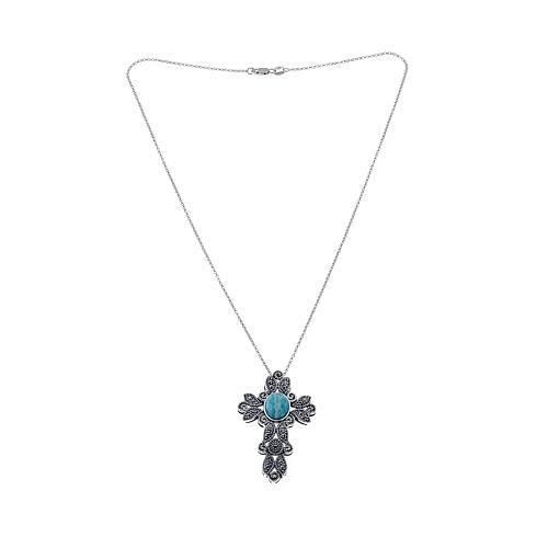 """Amazon Marcasite and Amazonite Sterling Silver Cross Pendant Drop 18"""" Necklace"""