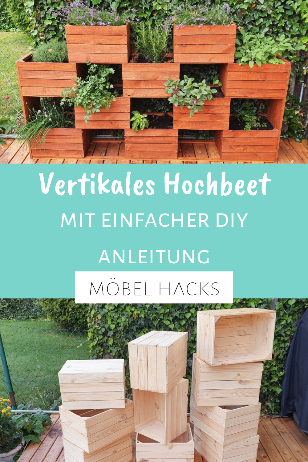 Vertical Garden For Herbs Build A Vertical Herb Bed For Your Garden Or Balcony You Can Also Use It In 2020 Vertikaler Garten Vertikaler Garten Diy Garten