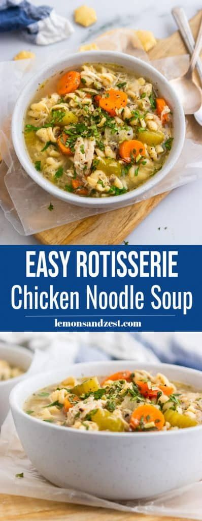 Easy Rotisserie Chicken Noodle Soup | Stove Top & Slow Cooker