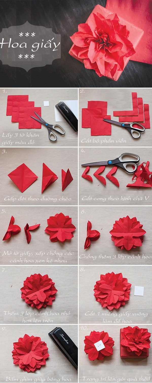 Pin by chantel hunt on crafts pinterest sheer fabrics fabric paper napkin poinsettia tutorial same idea of tissue paper flowers nice idea i always have tons of leftover party napkins mightylinksfo