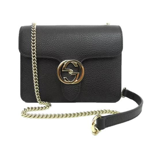 18a0c5830f42f8 GUCCI black Pebbled Leather INTERLOCKING G lock Cross-Body CHAIN bag NWT