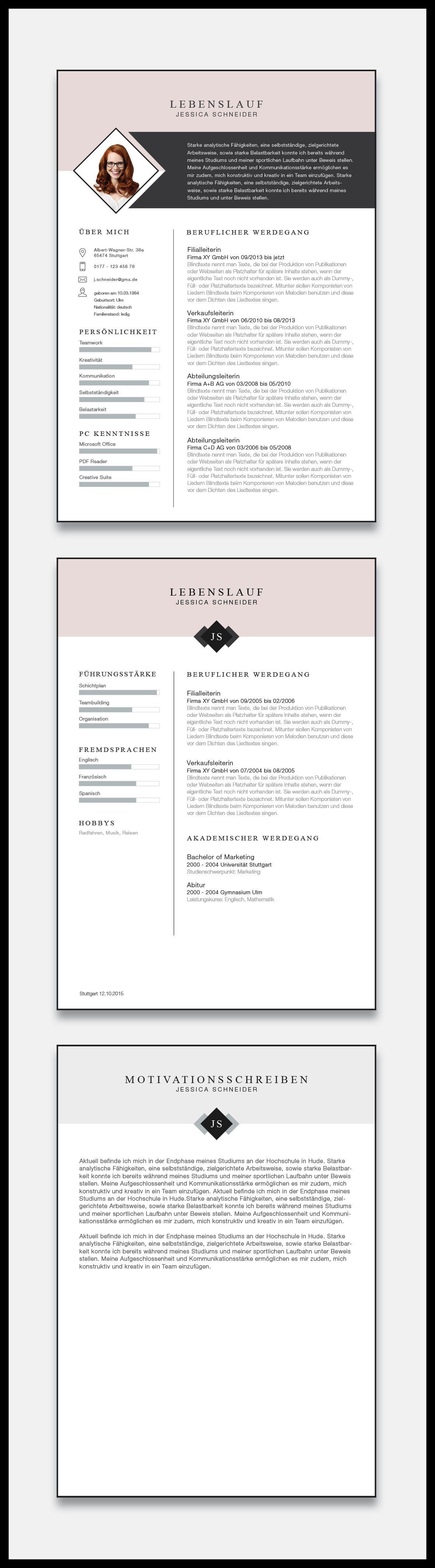 """Unsere neue Bewerbungsvorlage """"Minimal Chart"""" in der Farbe Light Rose. Mit  der minimalistischen"""