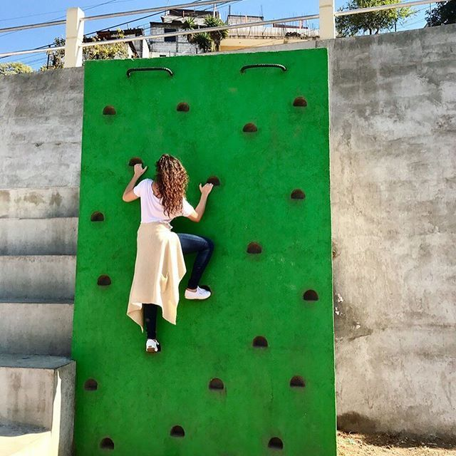 Activate Public Space Taylor Of Dba Lab Testing Out The Concrete Climbing Wall In A New Urban Park In Santiago Guatemala