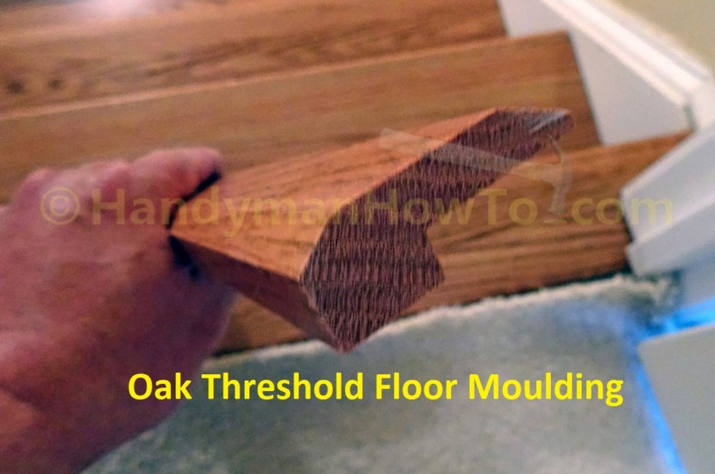 Oak Threshold Floor Moulding For Top Stair Tread To Carpet