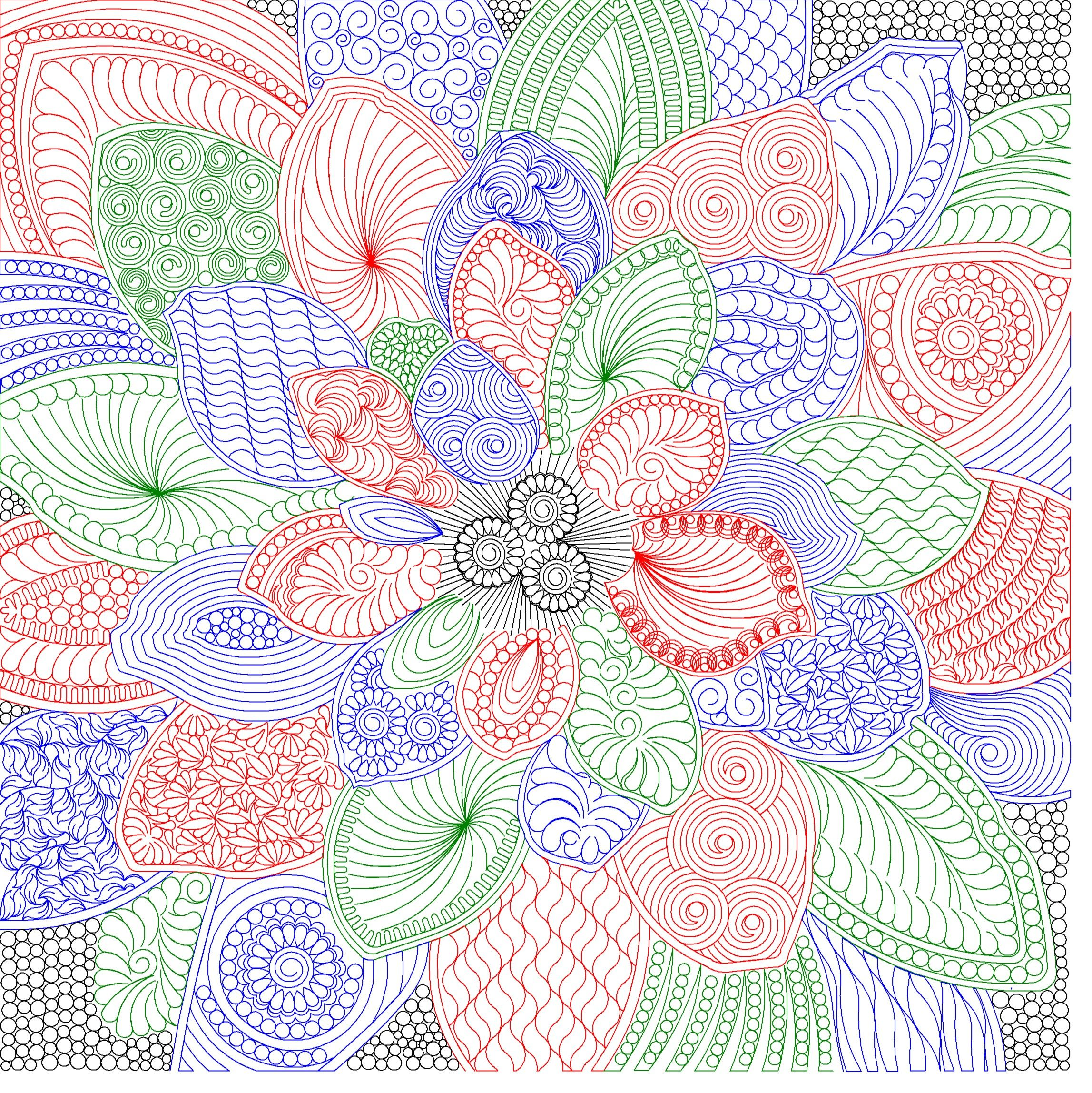 Computerized Digitized Quilting Patterns For The Fabric