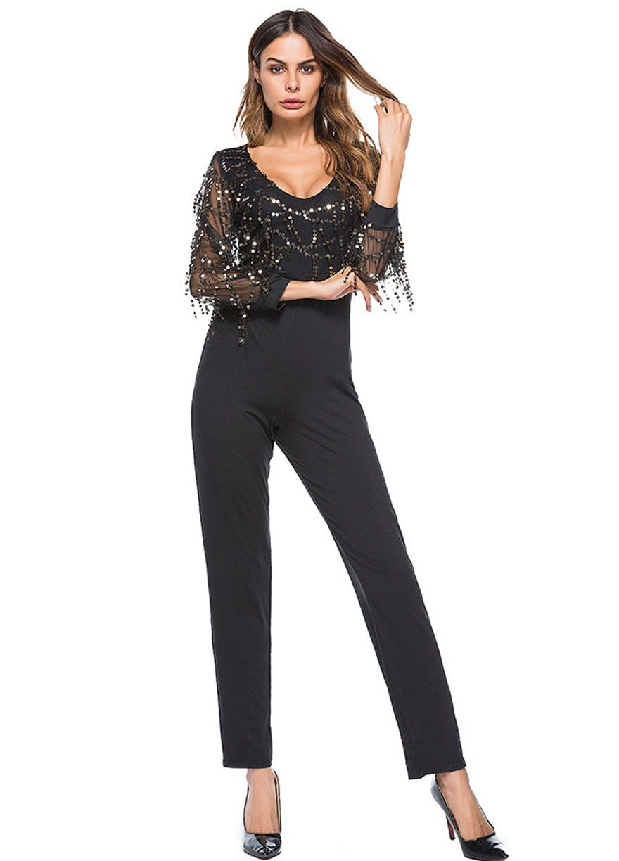 Long Sleeve Flowing Sequins Top Fitted Jumpsuit_Clubwear Jumpsuit_Clubwear Clothing_Sexy Lingeire | Cheap Plus Size Lingerie At Wholesale Price | Feelovely.com