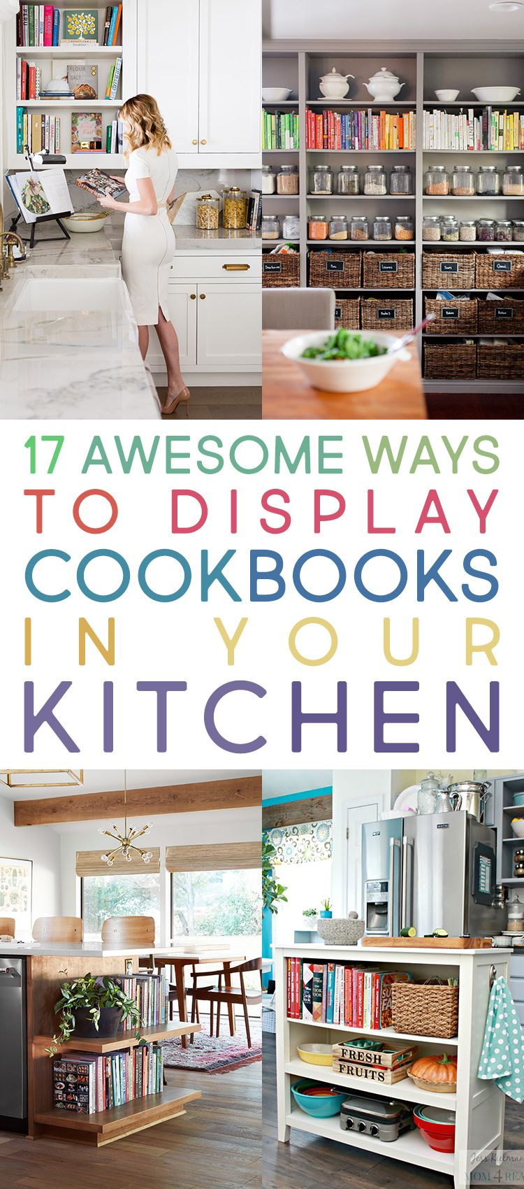 17 Awesome Ways To Display Cookbooks In Your Kitchen The Cottage Market Kitchen Cookbook Display Cookbook Display Cookbook Shelf