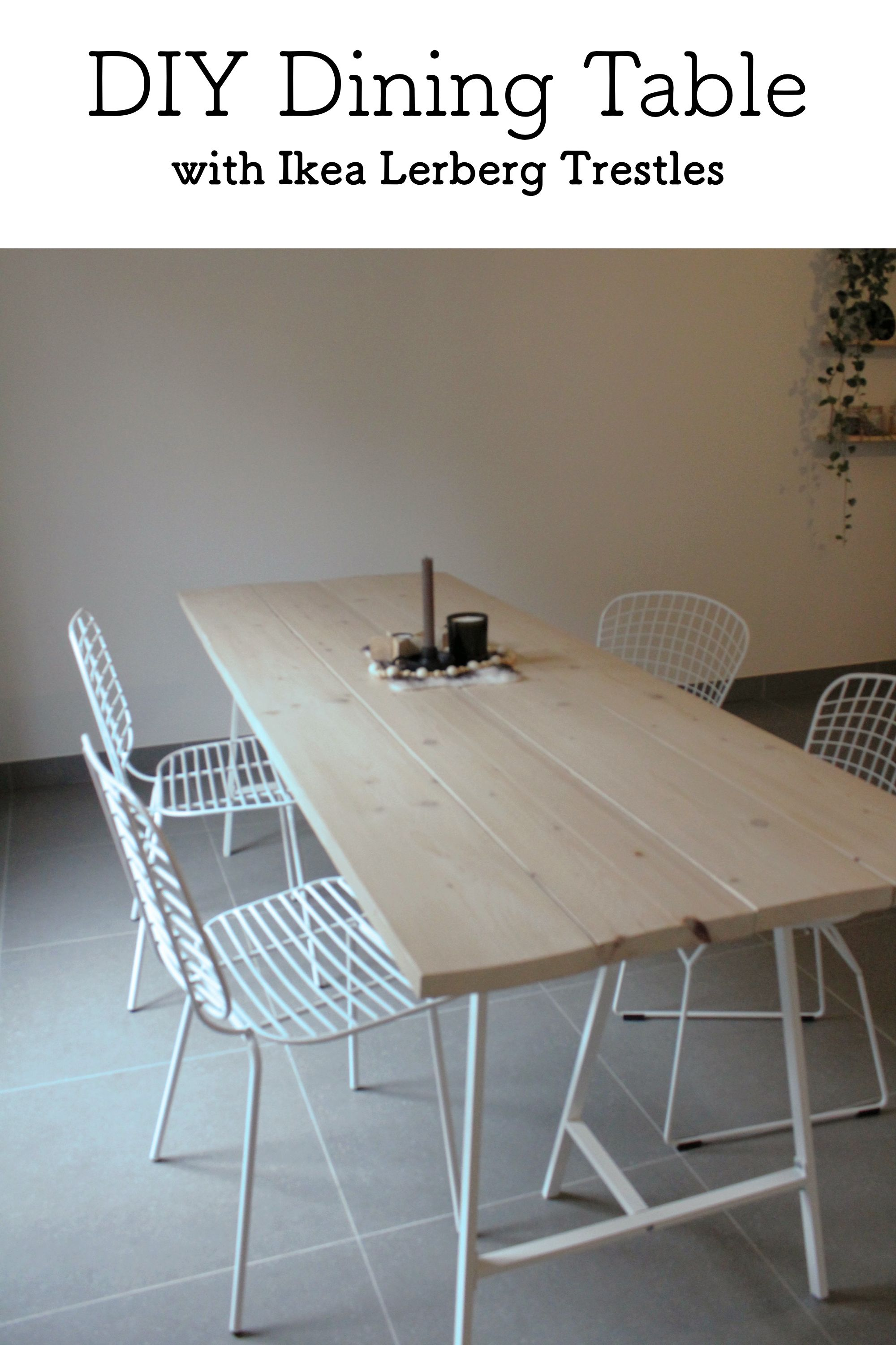 Diy Budget Dining Table With Ikea Lerberg Trestles Budget Dining