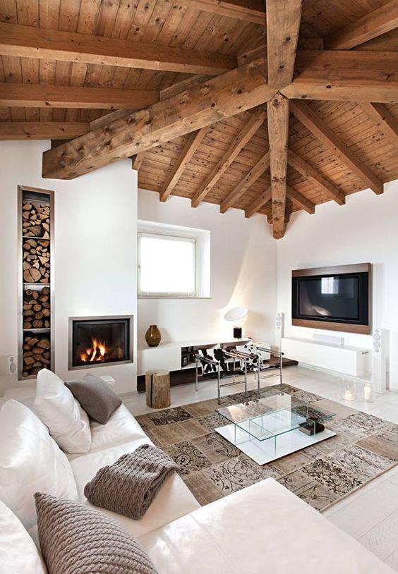 Accostare bianco e legno nel salone 20 bellissimi esempi for Arredamento casa bianco