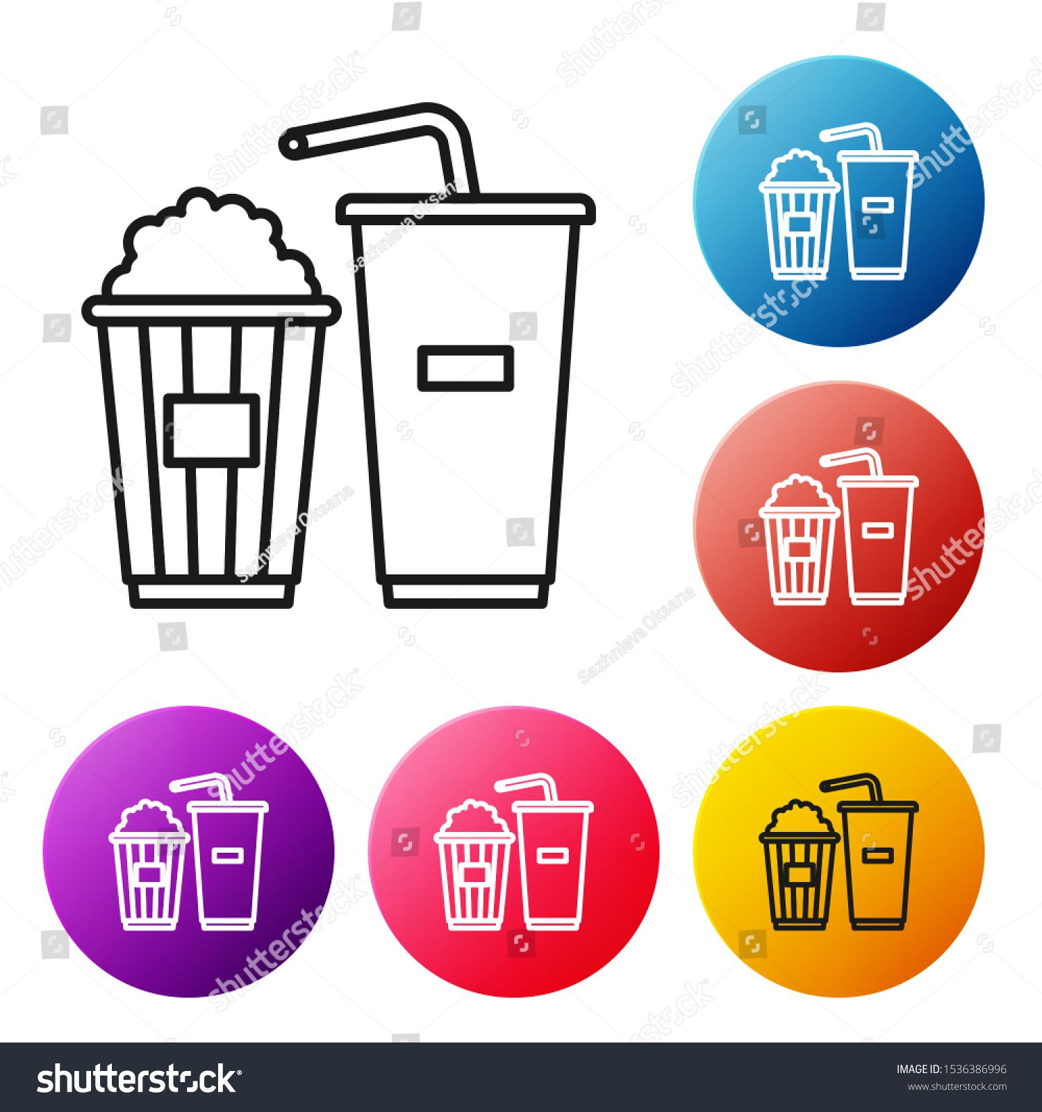 Black line Popcorn in cardboard box and paper glass with drinking straw and water icon isolated on white background Soda drink glass Set icons colorful circle buttons Vec...