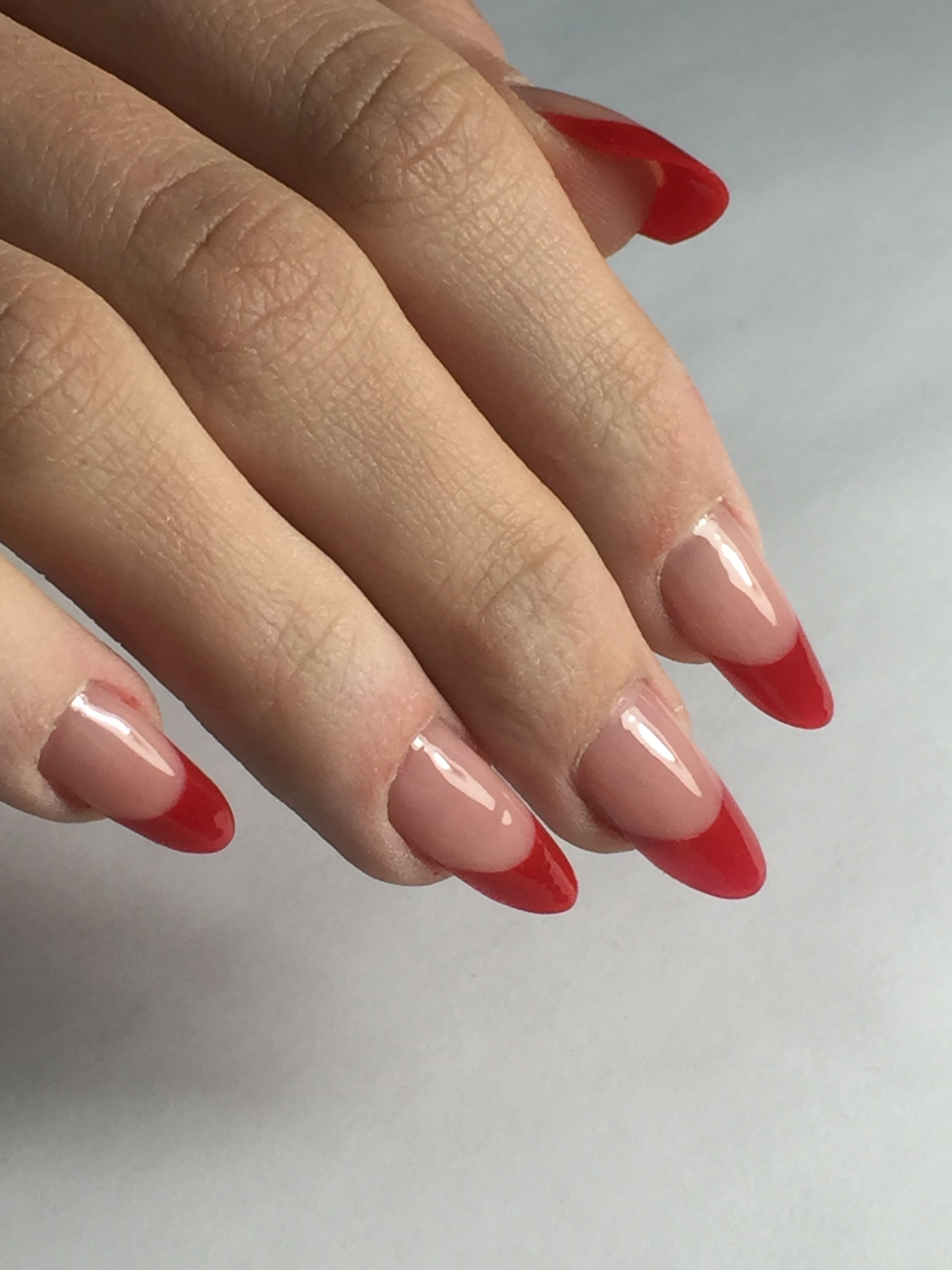 Acrylic nails redfrench frenchmanicure acrylicnails