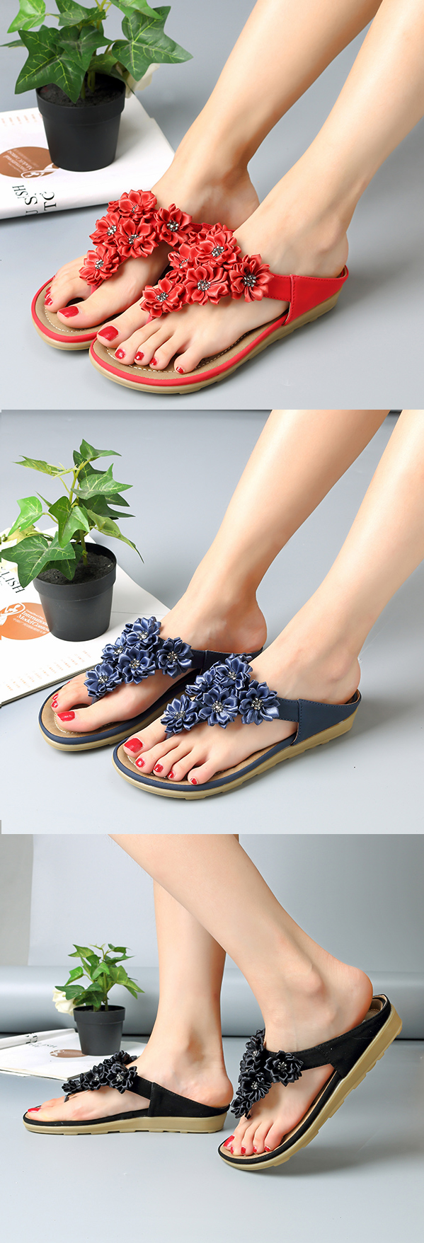 80268d2fab US 21.76 Socofy Flowers Bohemia Clip Toe Soft Beach Flat Slippers ...