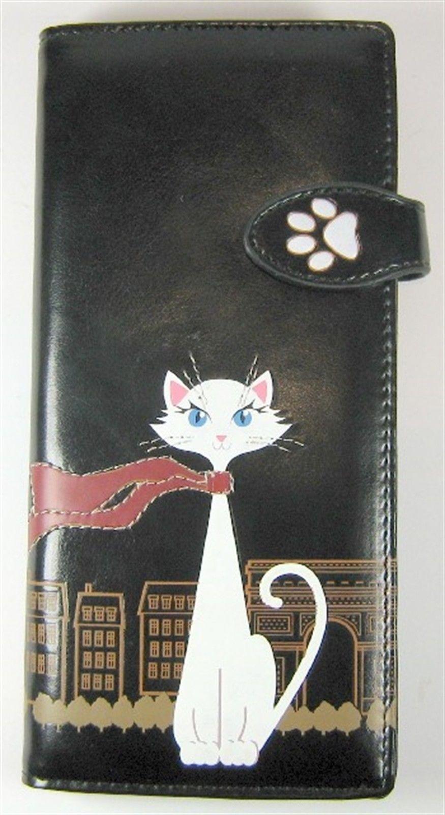"""Travel Cat"" Faux Leather Wallet - Black   eBay"