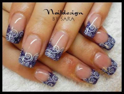 blue french tips with swirls