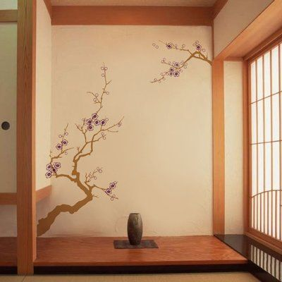 Pop Decors Beautiful Plum Blossom 2 Wall Decal Color