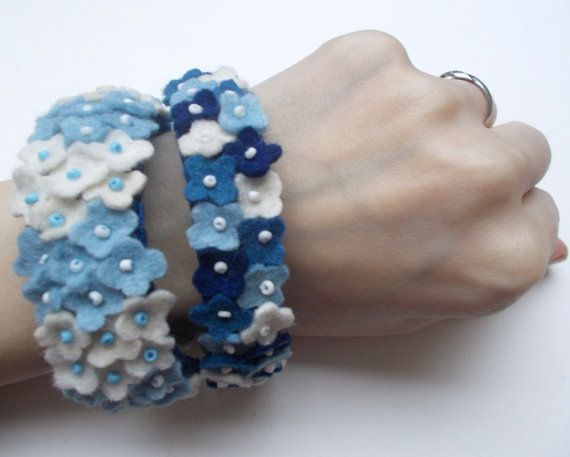 Felt bracelet blue Spring Flowers handmade felt by grabacoffee