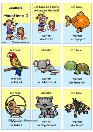 Lesespiel für die Gruppe/ Klassezum Thema Haustiere