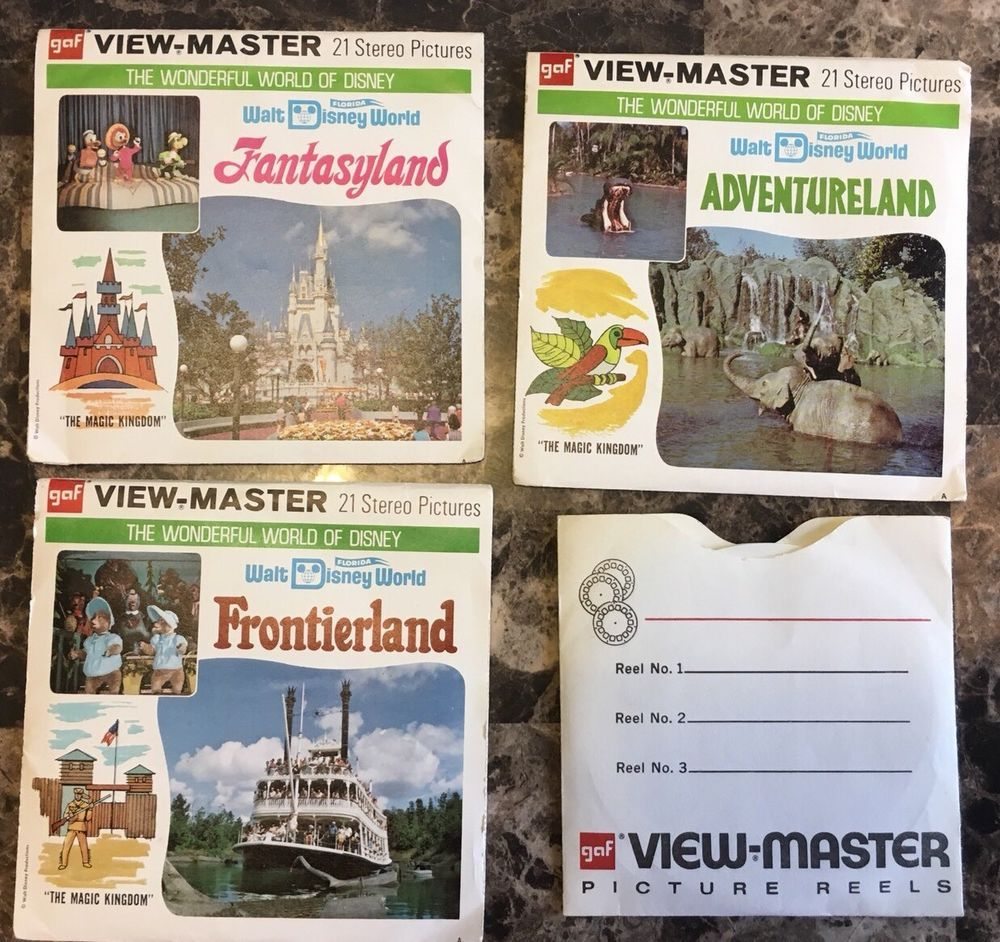 Vintage View Master Reel Packets Of Disney World Set Of 4 Packets In