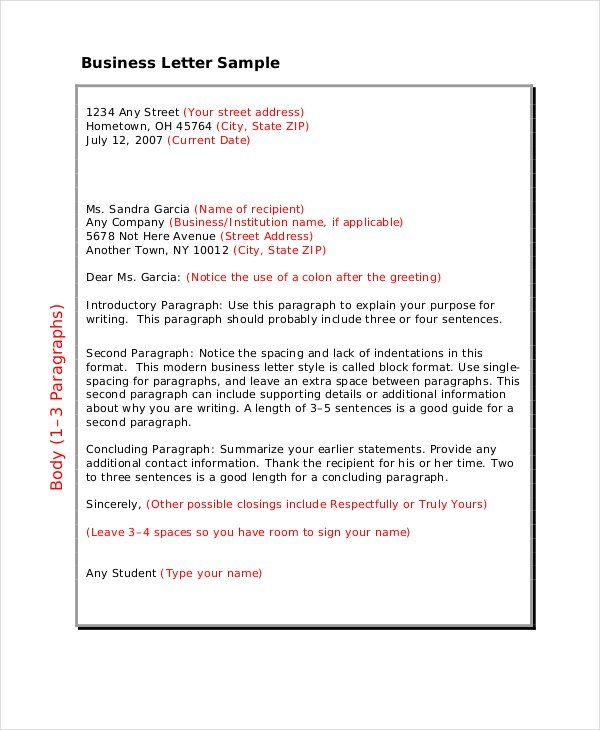 business letter format free word pdf documents download template - sample business letter example