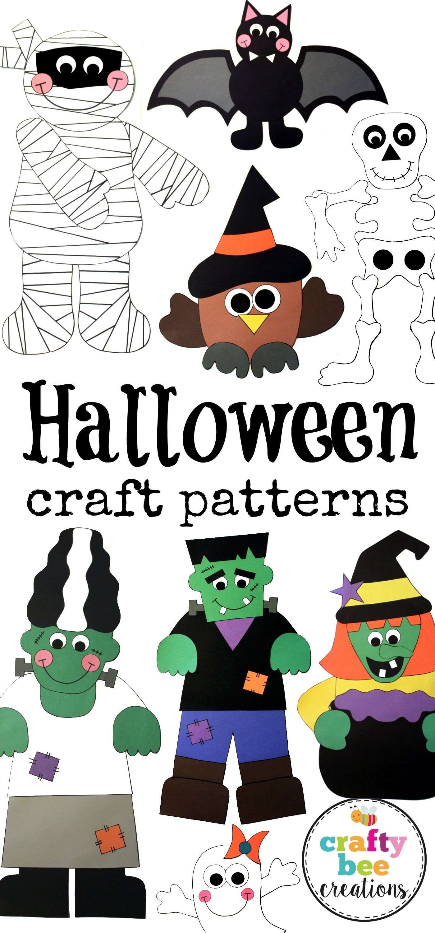 great selection of halloween craft patterns to chose from in this set lots of fun - Halloween Printable Crafts For Kids 2