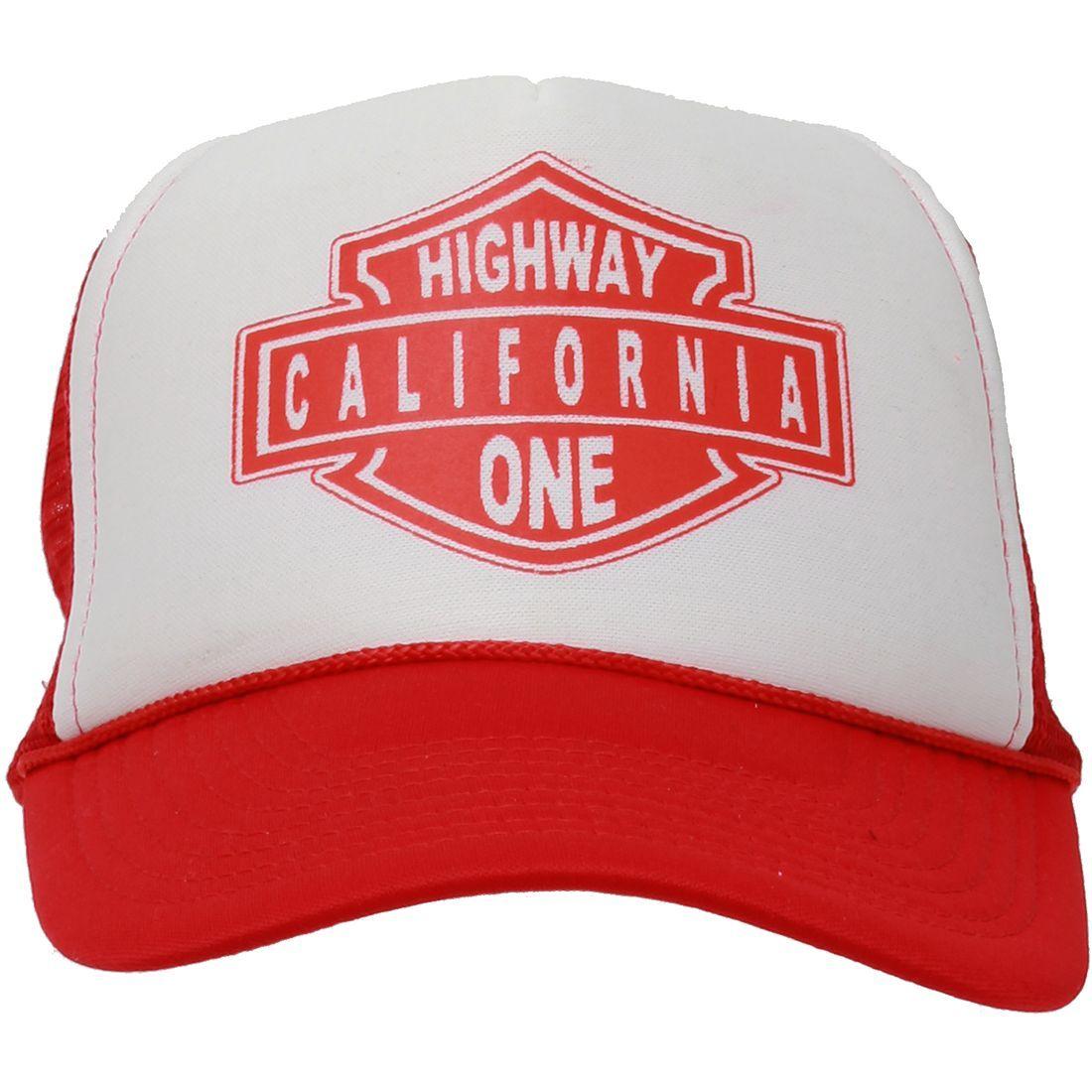 California Republic Highway One Snapback Hat On Orange And