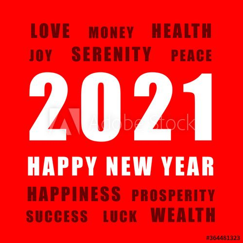 2021 Happy New Year. Red and white greeting card. #AD , # ...