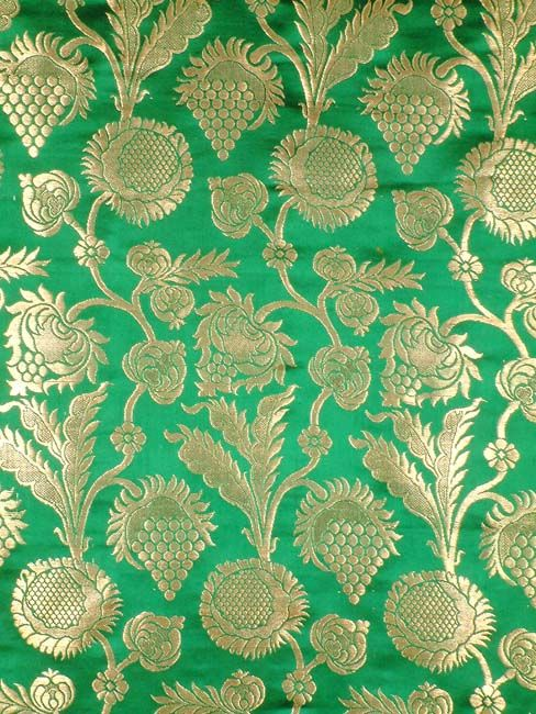 Green Floral Brocade Fabric With Golden Thread Weave By