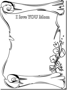 coloring pages i love you mom scroll