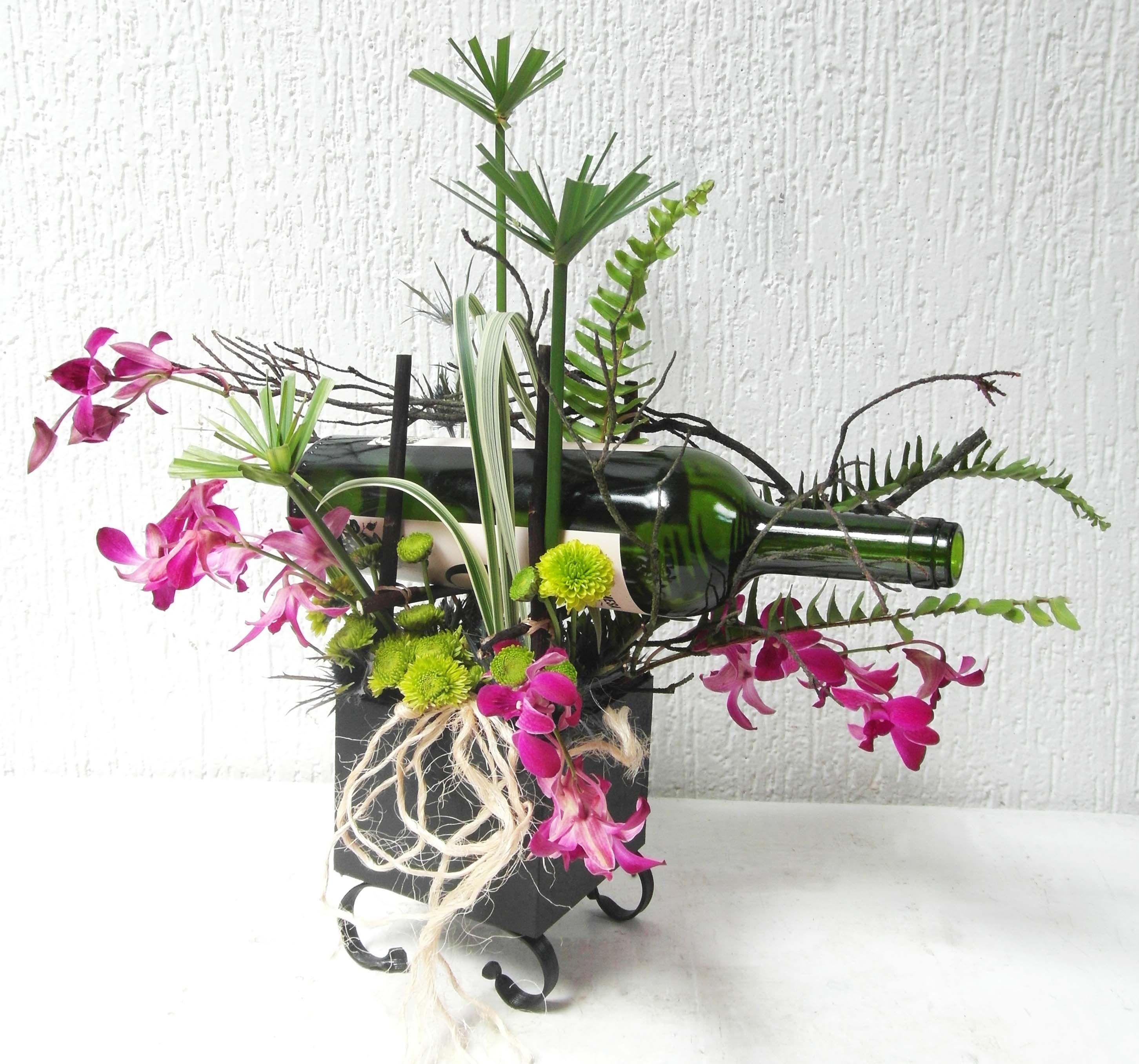 Vino Con Flores Orquídeas Dendrobium Flores Para Papá