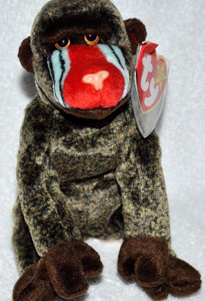 TY Cheeks Baboon Monkey Retired Plush 1999 MWMT Beanie Babies Rare ... 85d98308dfa