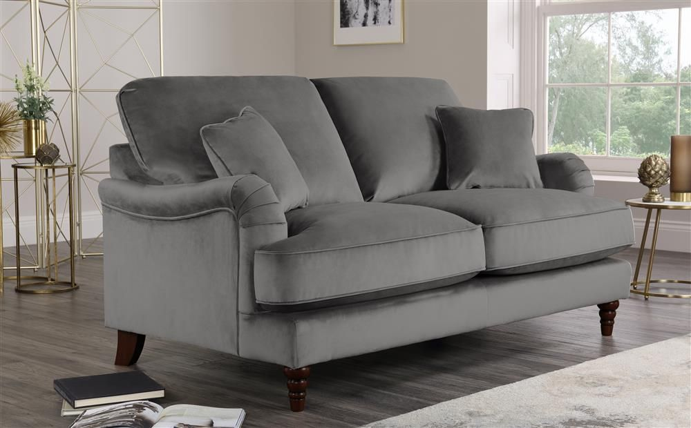Charleston Grey Velvet 2 Seater Sofa Leather Corner Sofa Sofa Furniture Sofa