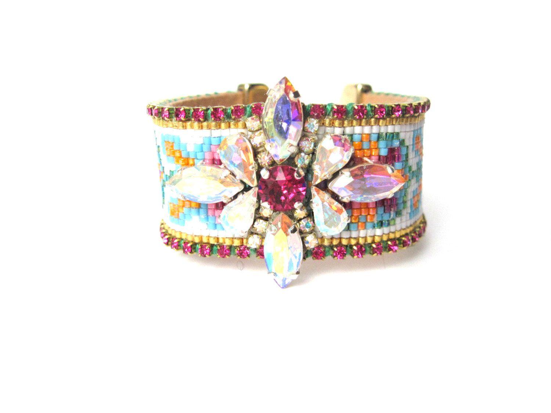 Swarovski embroidered bead loom friendship bracelet - bead loom bracelet, seed bead bracelet, swarovski friendship bracelet, boho bracelet by distinguishedjewelry on Etsy
