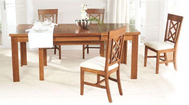 Mesa extensible de comedor de la colección Evita en madera maciza.  • 160/280×90 cm. (8 patas).  • 160/228×90 cm. (4 patas)