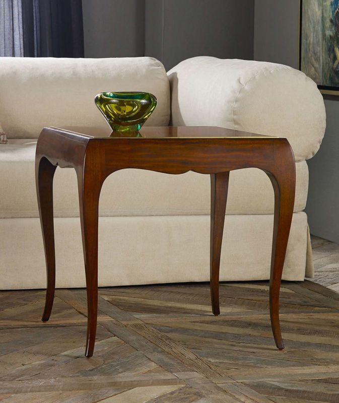 French Square End table  Brass Inlay Detail and Cabriolet Legs